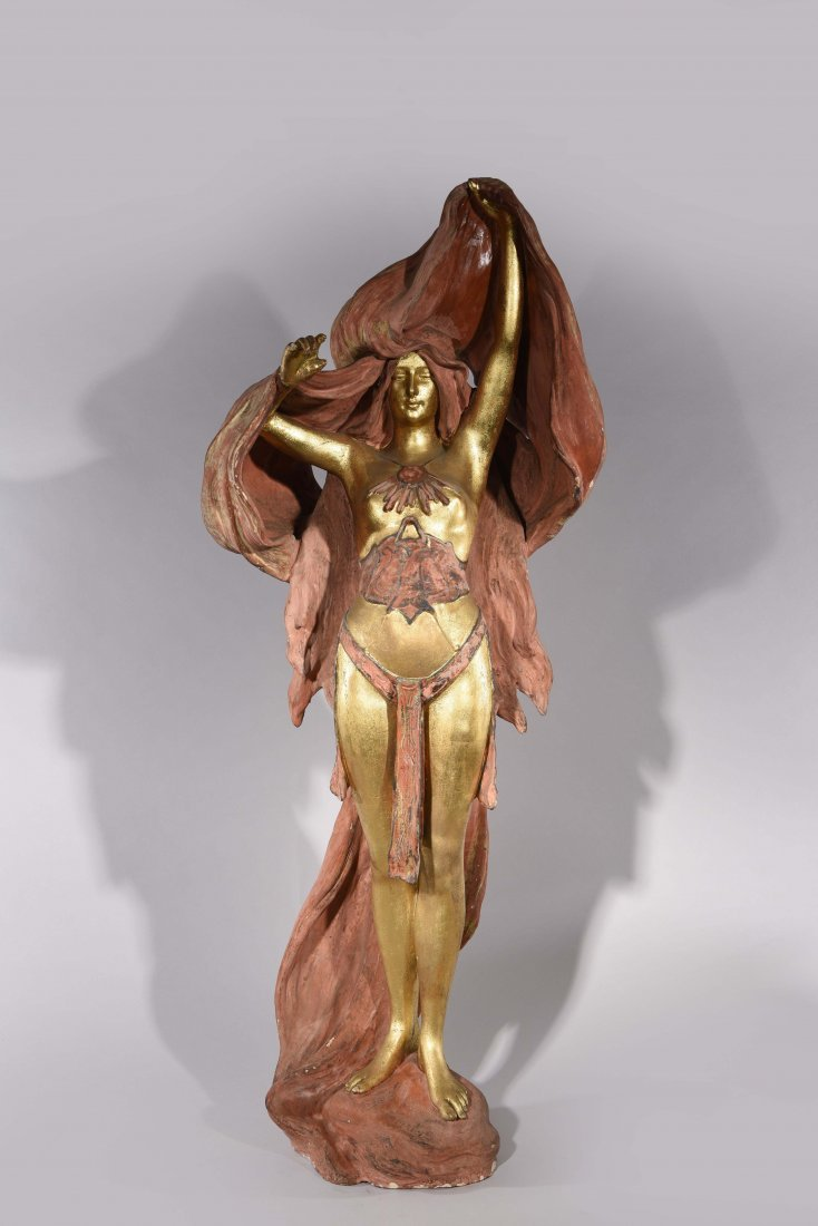 ART NOUVEAU TERRACOTTA FEMALE FIGURE