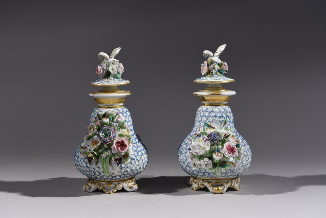 PAIR OF JACOB PETIT PORCELAIN PERFUME BOTTLES