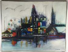 D METELSKI ABSTRACT CITYSCAPE PAINTING