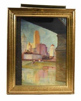 20th C. O/b Ohio Cityscape Painting