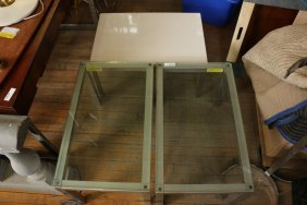 (3) Glass And Metal End Tables