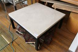 Steel and travertine marble coffee table.