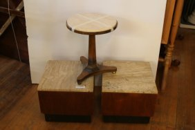 Pair Of Travertine Top End Tables