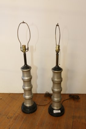 Pair Of Porcelain Faux Bamboo Lamps