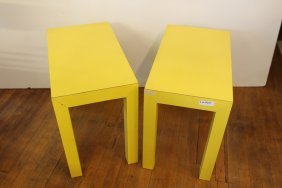 Pair Of Yellow Parsons End Tables