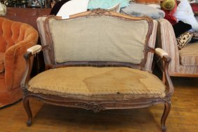 French Carved Wood Settee