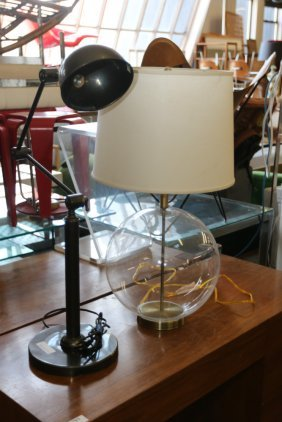 Glass Round Sphere Lamp And Articulating Burnished