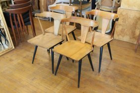 Four Paul Mccobb Chairs Black And Blonde