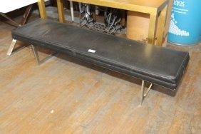 1970s Chrome Upholstered Bench.