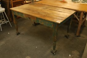 Natural And Blue Painted Base Pine Dining Table.