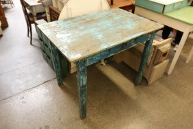 Blue Painted Pine Work Table.