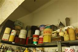 Grouping of tin litho advertising containers etc.