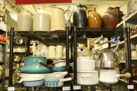 Grouping Of Danish Enamelware, Along With Stone