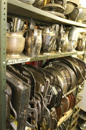 Large Grouping Of Silver Plate Trays And Pewter