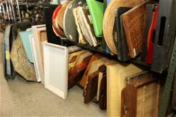 Large grouping of serving trays incl wood and