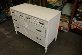 Four Drawer French Style White Painted Chest.