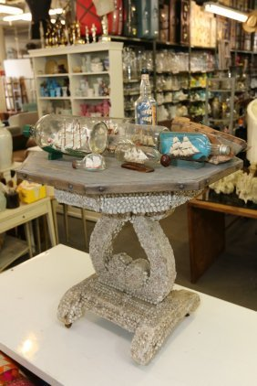 Wood Top Occasional Table Decorated With Sea