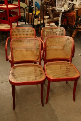 Set Of Four Thonet Canned Seat And Back Chairs