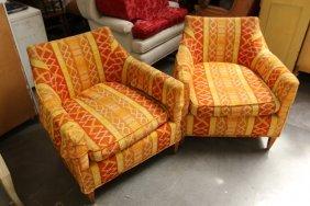 Pair Of Mid Century Orange Print Lounge Chairs