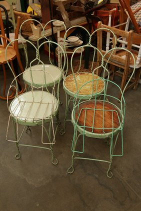 (4) Ice Cream Parlor Chairs & 2 Childs Wire Chairs