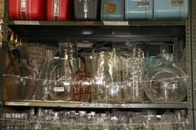 Lot Of Large Clear Glass Vases, Incl One Mosaic