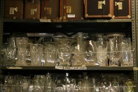 Shelf Of Large Clear Glass And Crystal Vases