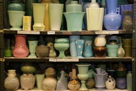 Collection Of Small Green, Blue, And Pink Ceramic