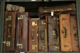Nine Vintage Assorted Size Brown Leather