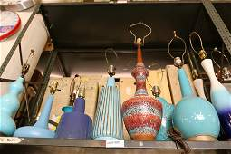 Grouping of ceramic lamps blue and purple in
