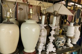 Shelf Of Misc Lamps Incl Chinese Porcelain, 14 In