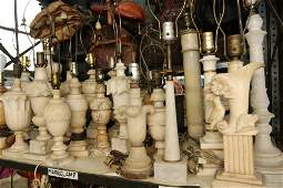 Large group of marble and alabaster lamps, 21 in