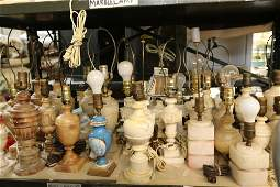 Grouping of marble and alabaster lamps, 34 in
