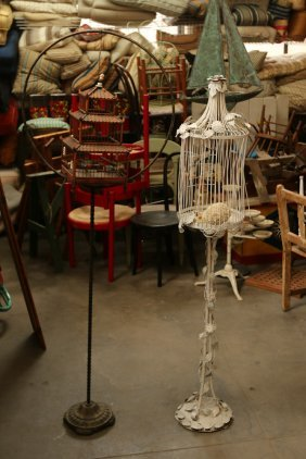 Two Vintage Bird Cages On Stands.