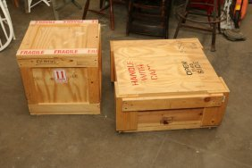 Two Wooden Crates With Lids.