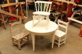 Vintage White Painted Child's Table And Four Misc