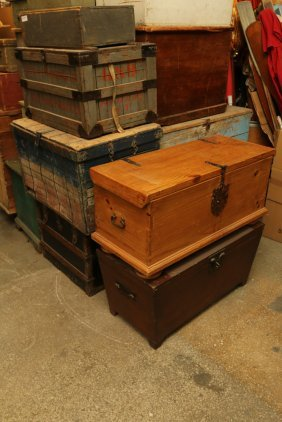 Seven Vintage Assorted Trunks And Boxes Incl