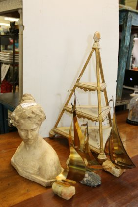 Grouping Of Brass And Marble Sail Boats Along