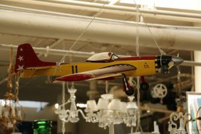 Yellow Wood Painted Model Airplane.
