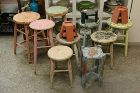 Various Painted Wooden Stools And Small Painted