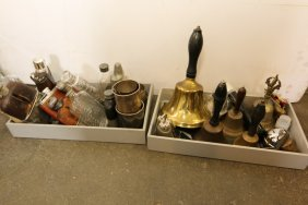 Collection Of Bells And Whiskey Flasks.