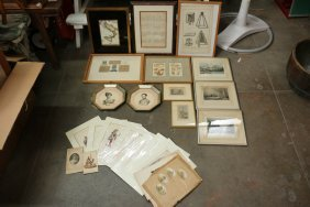Grouping Of Engravings Incl Portraits, Maps, Sea