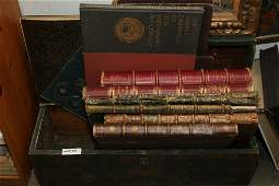 Grouping of large leather bound folio bindings.