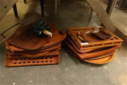 Large grouping of Danish teak trays incl dansk,
