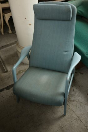 Blue Painted Mid Century Jens Risom Style Uph
