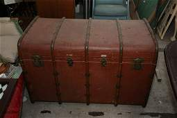 """Large vintage steamer trunk brown with """"A"""" on the"""