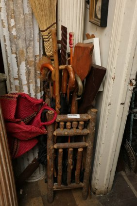 Grouping Of Umbrellas, Canes, And Umbrella Stand.
