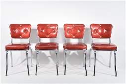 4 RETRO 1950S RED VINYL  CHROME CHAIRS