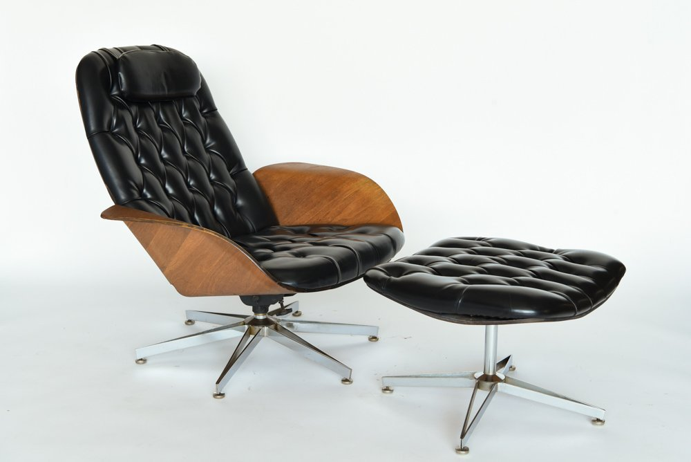 GEORGE MULHAUSER PLYCRAFT LOUNGE CHAIR & OTTOMAN