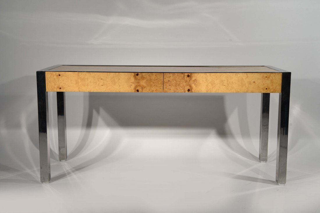 Pace chrome and burl wood console table