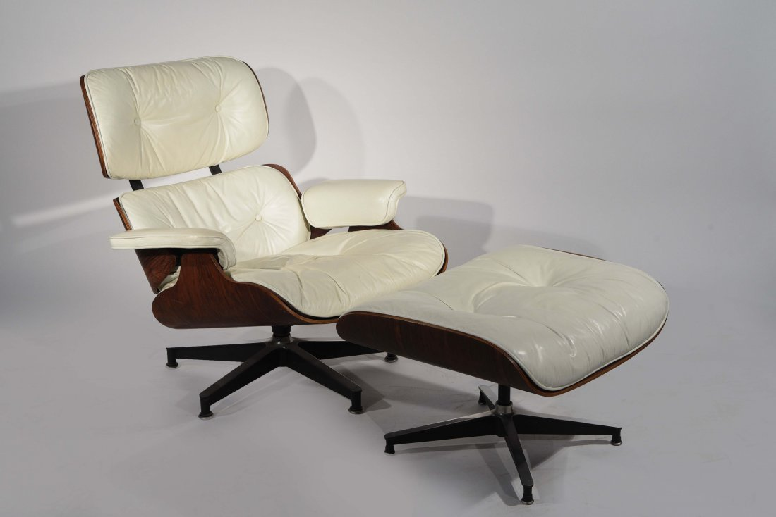 eames lounge chair and ottoman in white leather